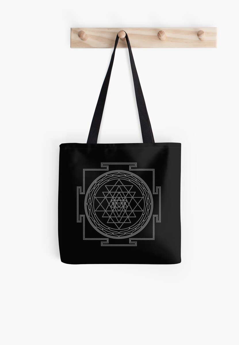 Glowing Sri Chakra Pillow - Black by Kim  Lynch