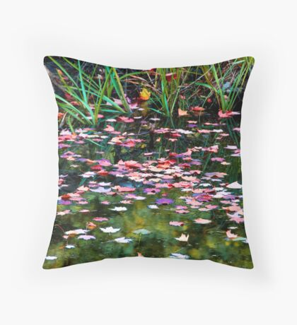 Floating Leaves on a Fall Day Throw Pillow