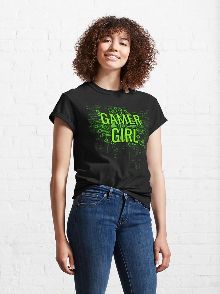 Alternate view of GAMER GIRL Cyber Green Classic T-Shirt