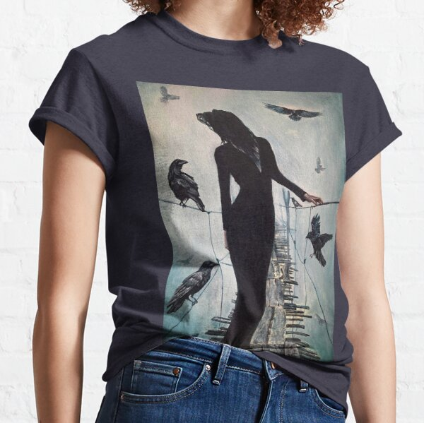 Raven Crossing - Painting of a Woman in Black Standing on an Old Bridge Surrounded by Ravens Classic T-Shirt