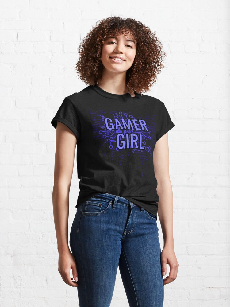Alternate view of GAMER GIRL Electric Blue Classic T-Shirt
