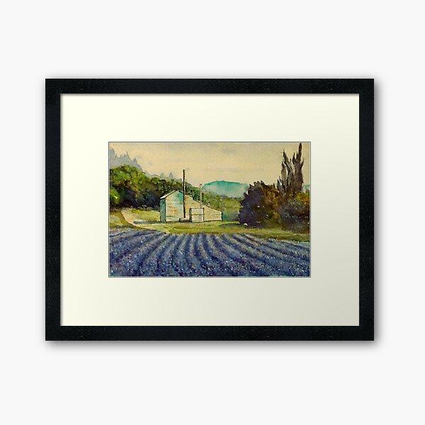 Lavender distillery near Sault and Aurel, Provence France Framed Art Print