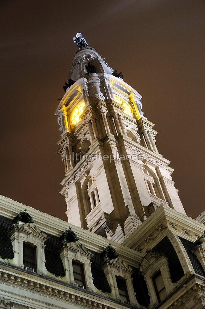 Philadelphia City Hall Clock Tower at Night by ultimateplaces