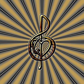 Original Treble Clef Music Art by Quidama