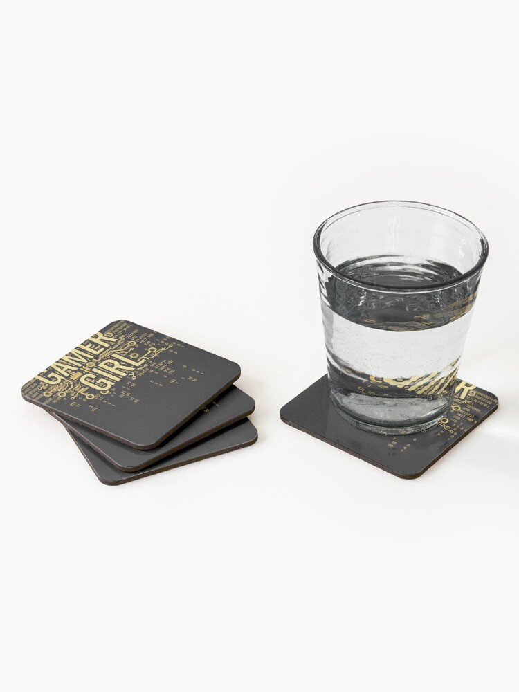 Alternate view of GAMER GIRL Cyber Yellow Gold Coasters (Set of 4)
