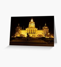 Iowa State Capitol Building Front (Night) Greeting Card