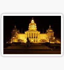 Iowa State Capitol Building Front (Night) Sticker