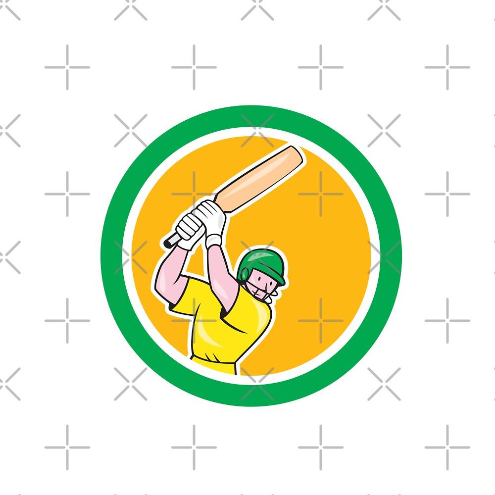 Cricket Player Batsman Batting Circle Cartoon by patrimonio