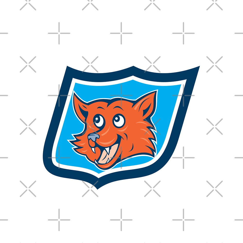 Red Fox Head Shield Cartoon by patrimonio