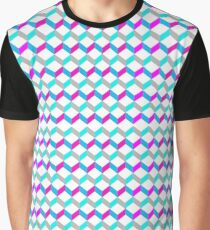 Bold Bright Trendy Optical Illusion Color Blocks Geometric Print Graphic T-Shirt