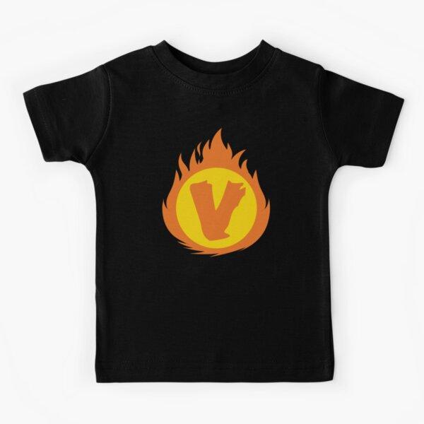 Superhero Letter V. Fire Insignia Kids T-Shirt