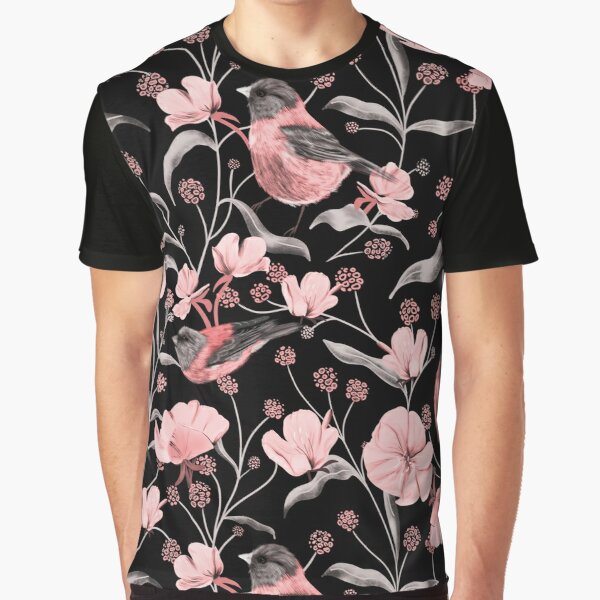 Pink Birds and Flowers Graphic T-Shirt