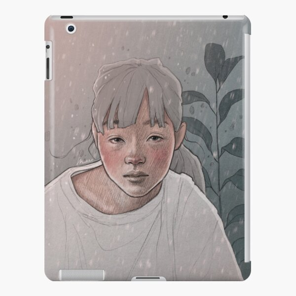 One Of Those Days - Bored Dreamy Girl on a Gloomy Day with a Plant Leaf - Digital Illustration by MadliArt iPad Snap Case