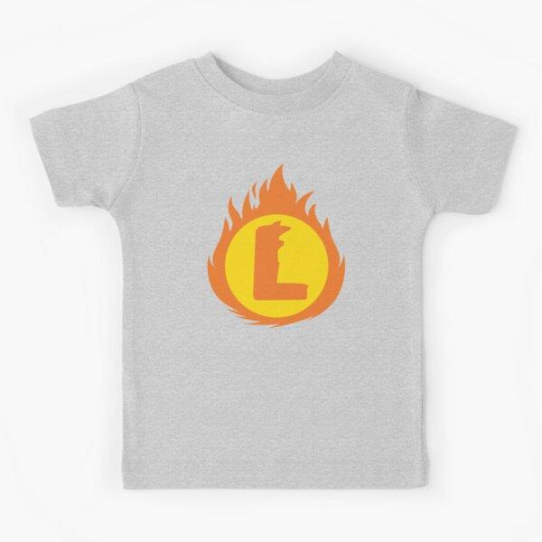 Superhero Letter L. Fire Insignia Kids T-Shirt