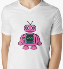 Pink Robot Mens V-Neck T-Shirt