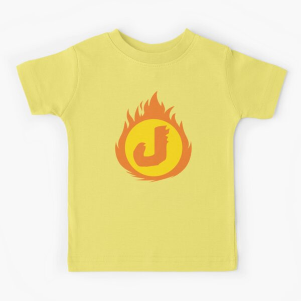 Superhero Letter J. Fire Insignia Kids T-Shirt