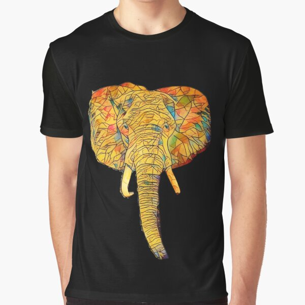 Yellow african elephant sunset mosaic for true elephant lovers.  Graphic T-Shirt