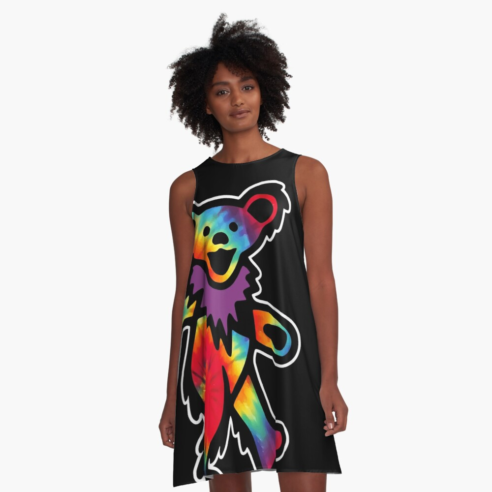Grateful Dancing Dead Hippie Bear Tie Dye A-Line Dress
