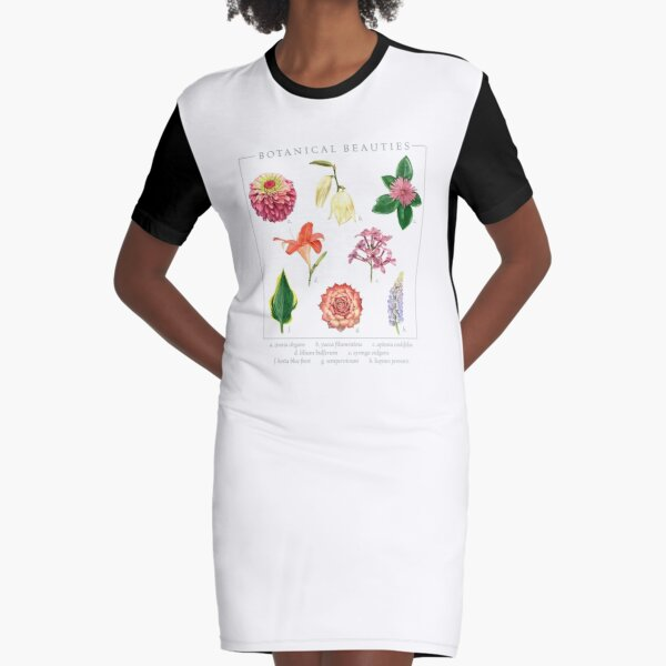 Botanical Beauties Floral Design for Flower Gardeners Graphic T-Shirt Dress