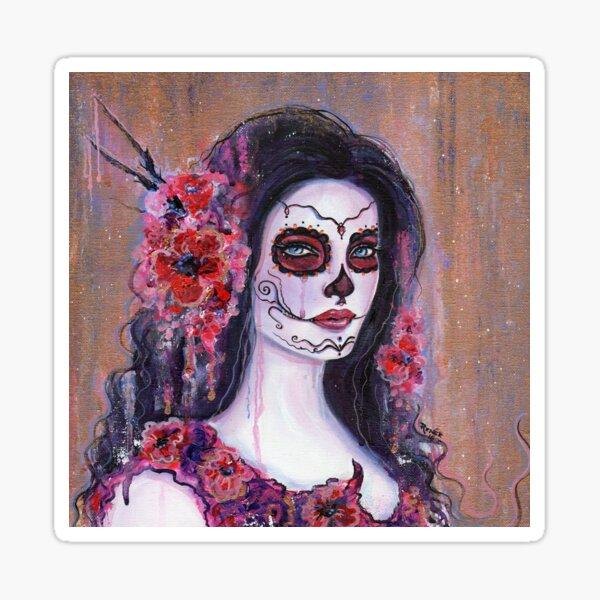Poppy flower day of the dead art by Renee Lavoie Sticker