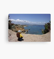 The lego Backpacker enjoying the beach Canvas Print