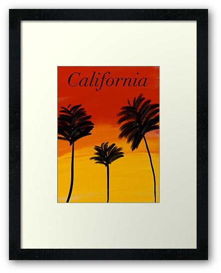 Poster/Cards/Print California sunset palm trees drawing by Neve12
