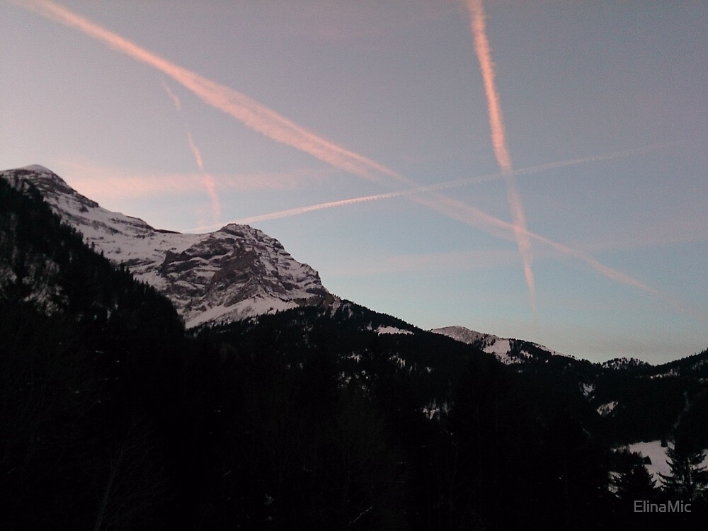 alps and plane line by ElinaMic