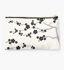 Black Oriental Cherry Blossoms | Zen Japanese Sakura Flowers Studio Pouch