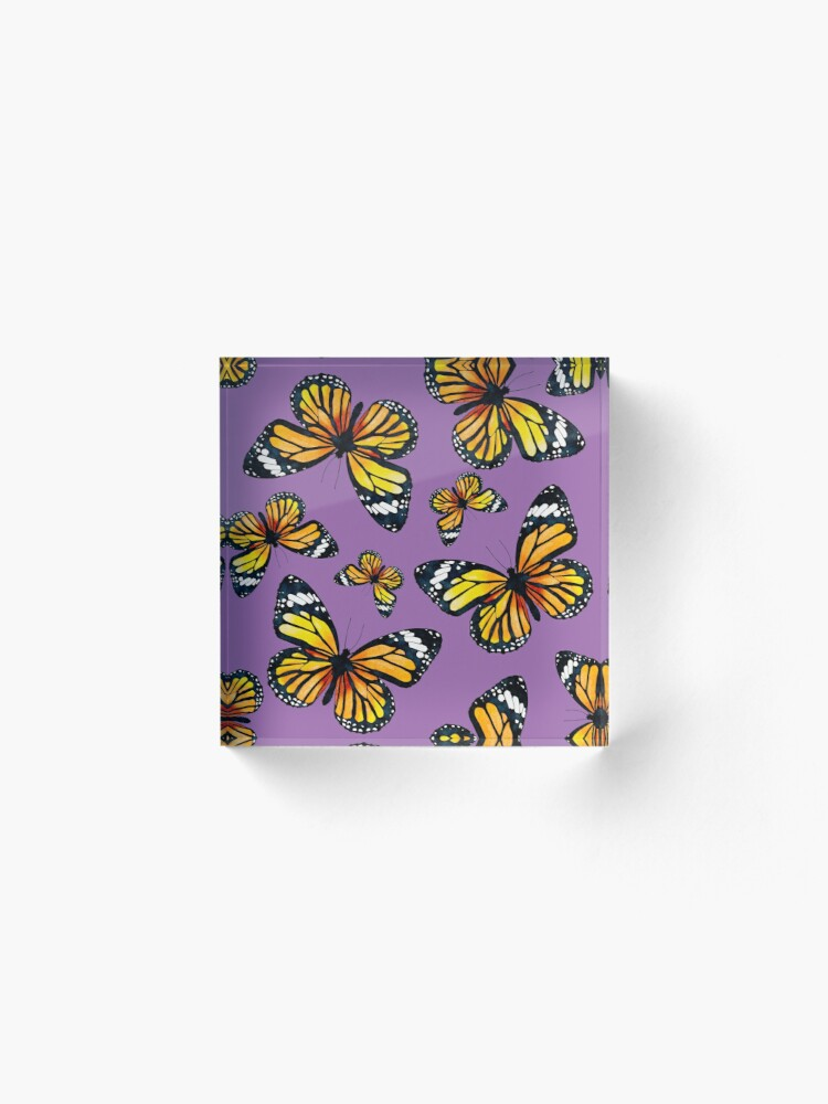 Alternate view of Golden Butterflies (Amethyst Orchid) Acrylic Block