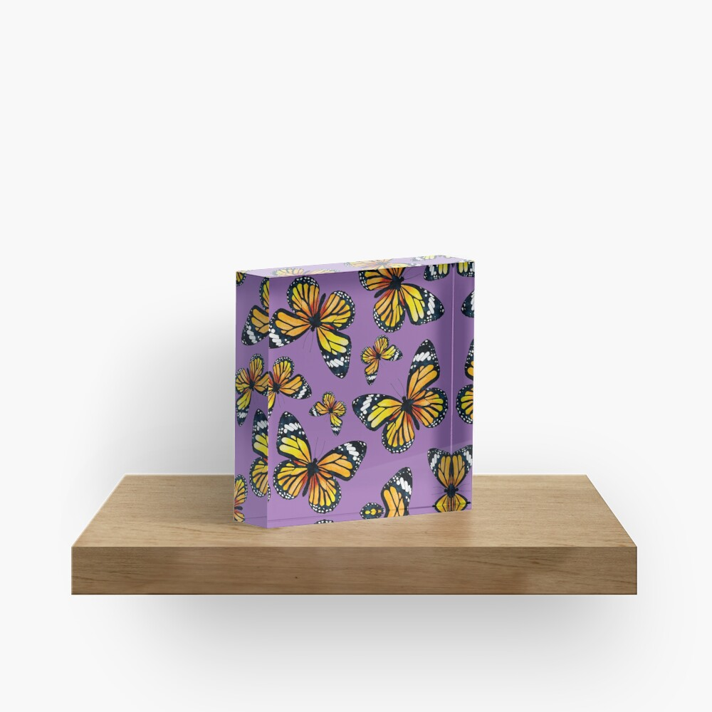 Golden Butterflies (Amethyst Orchid) Acrylic Block