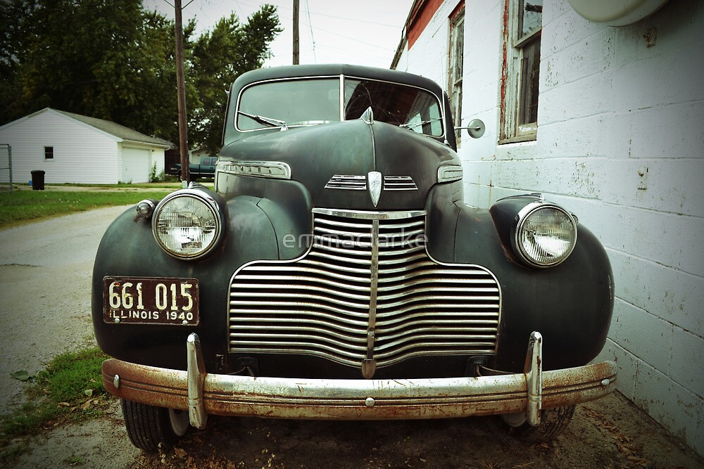 Route 66 Vintage 1940s Blue Car by emmaclarke