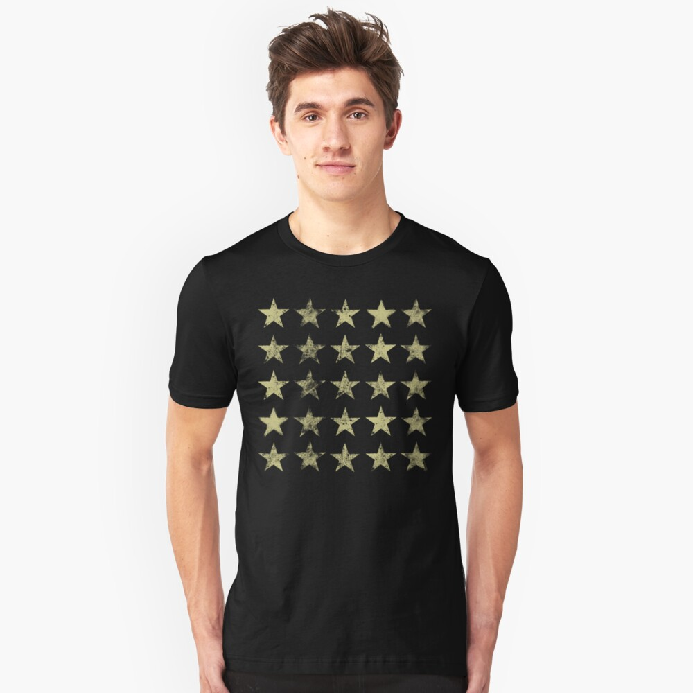 Distressed Gold Stars Pattern Unisex T-Shirt Front