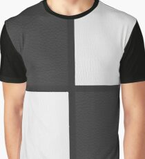 Black and White Leather Patchwork Graphic T-Shirt