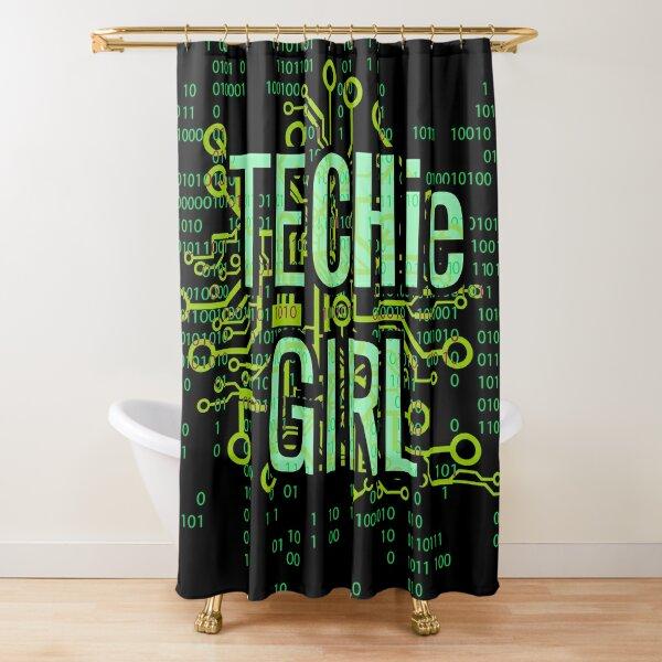 TECHie GIRL Digital Green Shower Curtain
