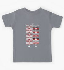 Retro Mod Ogee Red & Black Abstract Pod Pattern Kids Tee