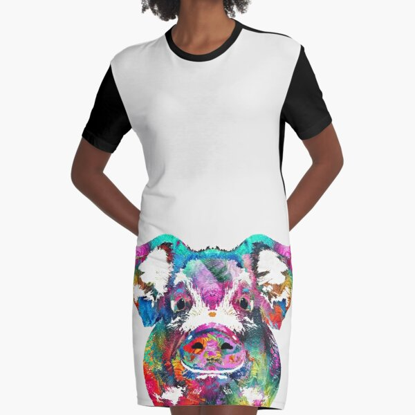 Colorful Pig Art - Squeal Appeal - By Sharon Cummings Graphic T-Shirt Dress