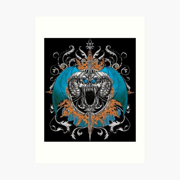 Blue Demon Wings & Skull Art Print