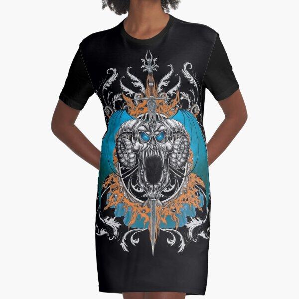 Blue Demon Wings & Skull Graphic T-Shirt Dress