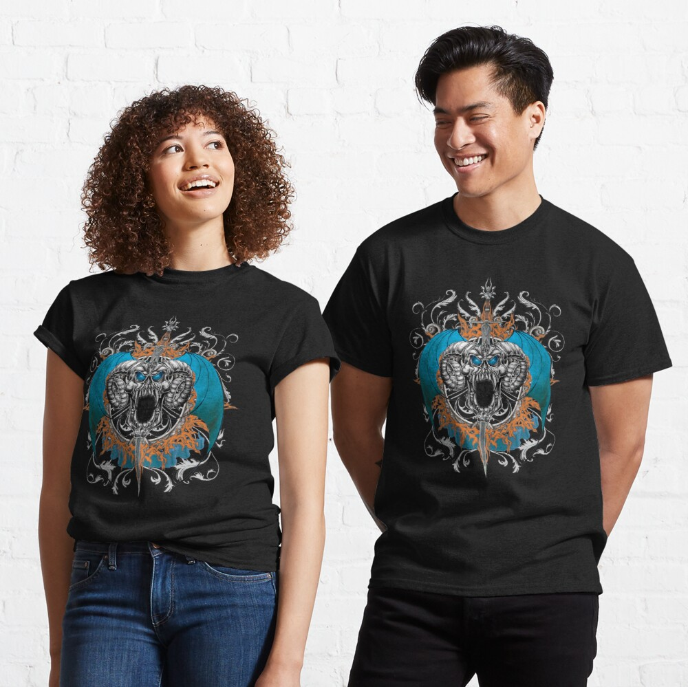 Blue Demon Wings & Skull Classic T-Shirt