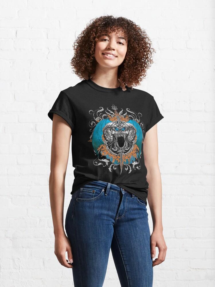 Alternate view of Blue Demon Wings & Skull Classic T-Shirt