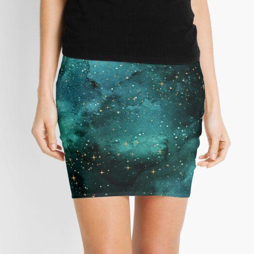 Teal Galaxy  Mini Skirt