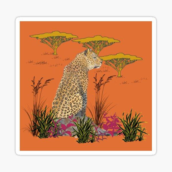 Savannah Leopard with Orange Background Sticker