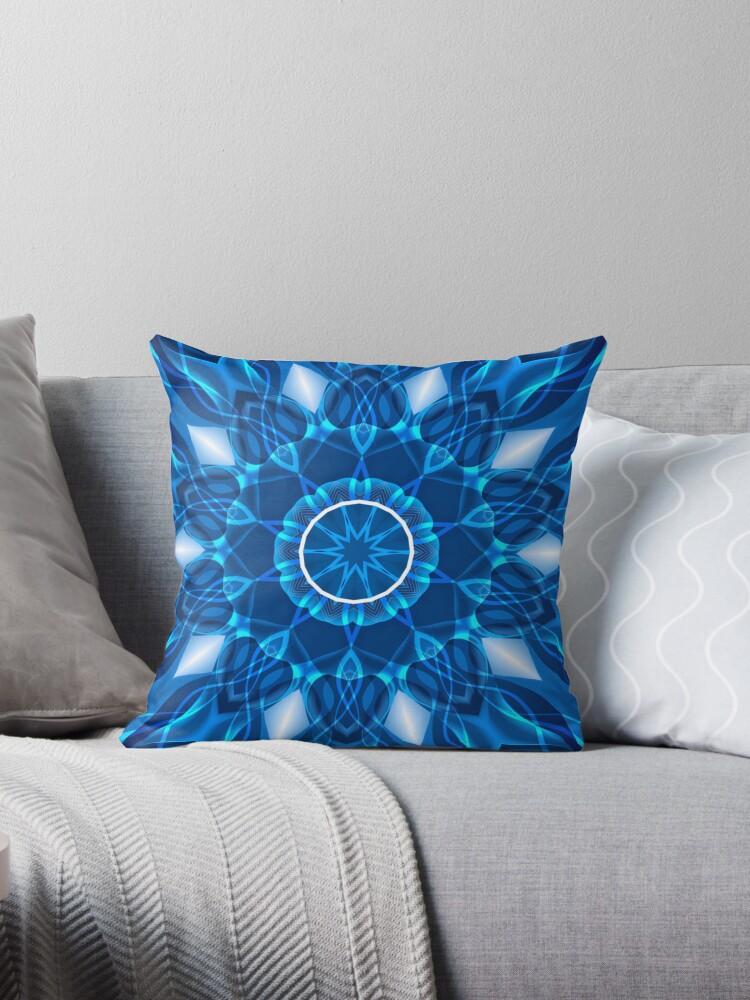 Blue Geometric Pattern Kaleidoscope Throw Pillow & Tote Bag by fantasytripp