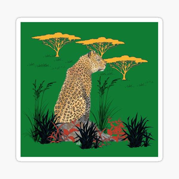 Leopard in Savannah with Green Background Sticker
