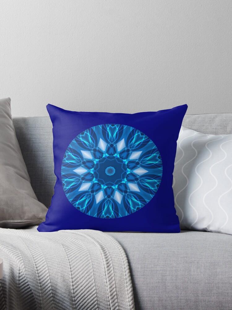 Blue Geometric Pattern Kaleidoscope 02 Throw Pillow & Tote Bag by fantasytripp