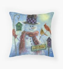 BIRD LOVER SNOWMAN Throw Pillow