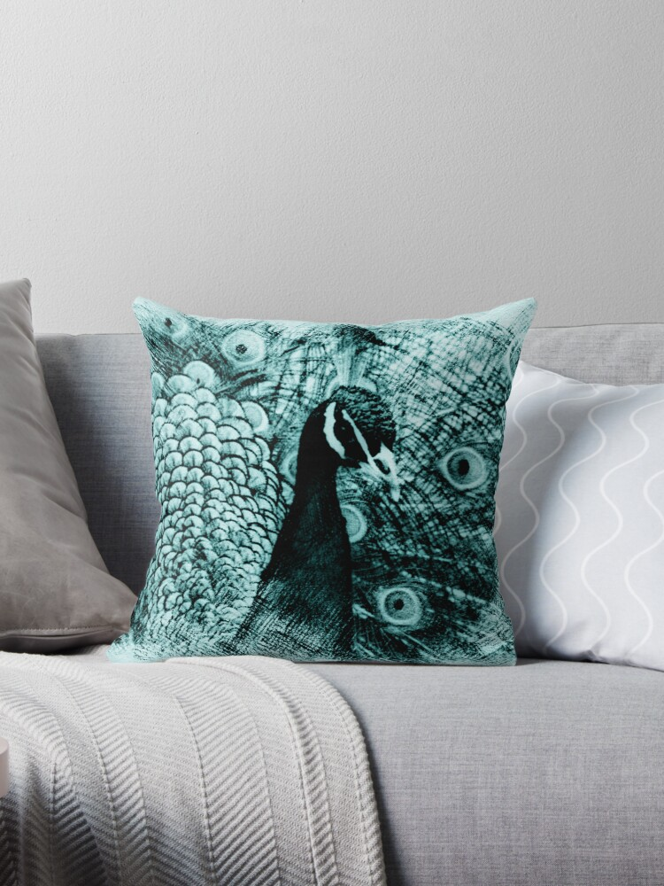 Peacock Sketch Throw Pillow & Tote Bag by fantasytripp