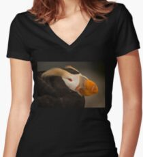 Tufted Puffin Women's Fitted V-Neck T-Shirt