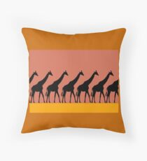 Giraffe silhouettes Throw Pillow