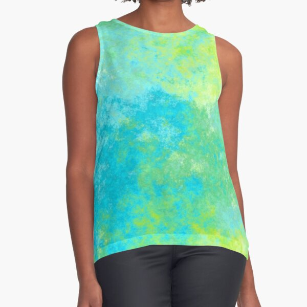 BLUE AND GREEN ABSTRACT 4 Sleeveless Top